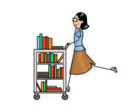 Librarian gliding along on a cart full of books.