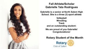 Rotary Student of the Month, Fall Athlete Gabrielle Tata Rodrigues, photo